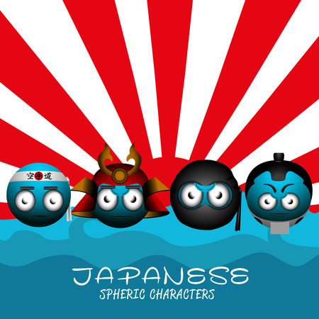 Set of japanese emotes on a colored background, Vector illustration
