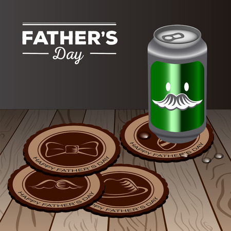 Set of cup holders and a beer can, Fathers day vector illustration