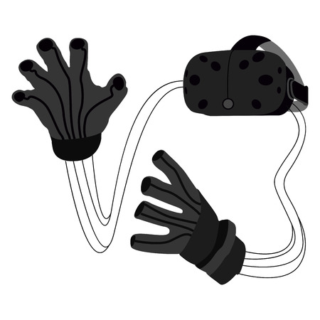 Isolated virtual reality devices on a white background, Vector illustration
