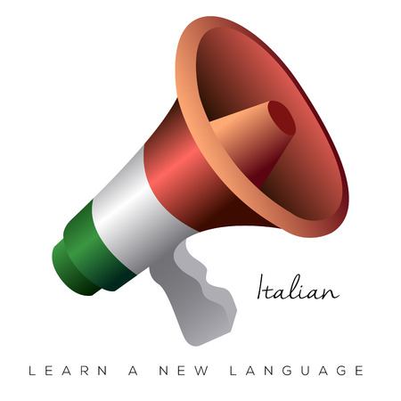 portable audio: Isolated megaphone with the italian flag, Vector illustration