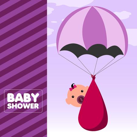 Pink baby shower invitational card, Vector illustration