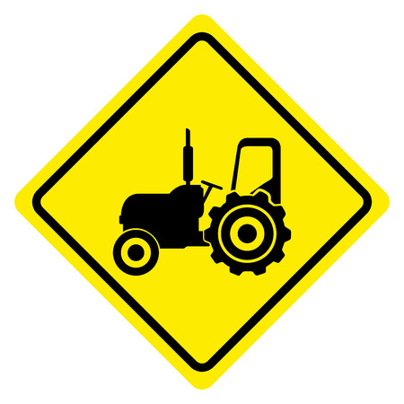 tractor warning: Isolated transit signal on a white background, Vector illustration
