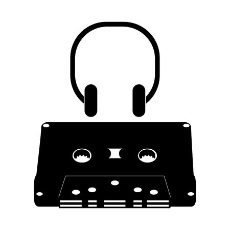 Isolated silhouette of a cassette, Vector illustration