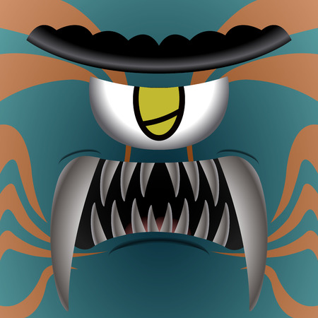 Colored cute monster with one eye, Vector illustration