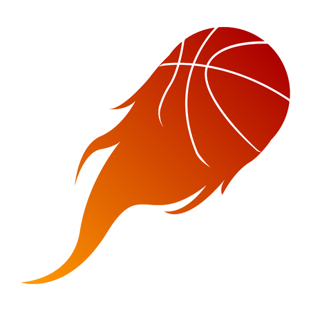 Isolated basketball ball on fire, Vector illustration Illustration