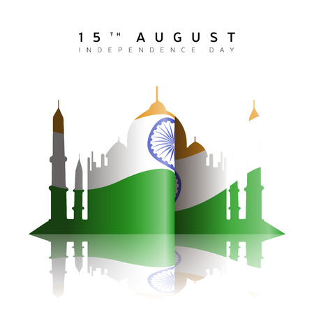 Happy indian independence day graphic design, Vector illustration Çizim