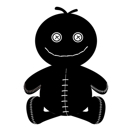 stitched: Isolated silhouette of a stitched doll, Vector illustration Illustration