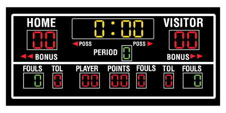 Isolated basketball scoreboard on a white background, Vector illustration Çizim