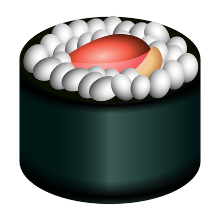 salmon dinner: Isolated sushi on a white background, Vector illustration
