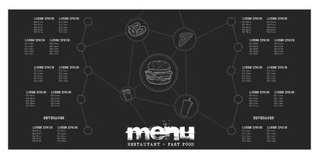 Retro menu design with icons, Vector illustration