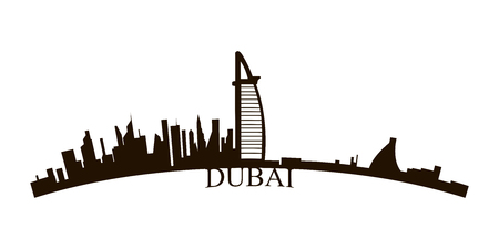 Isolated Dubai skyline on a white background, Vector illustration