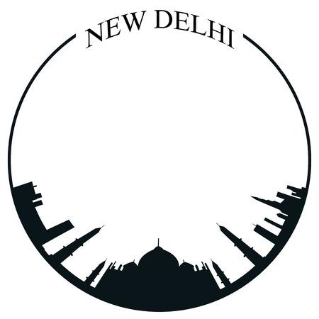 Isolated New Delhi skyline on a white background, Vector illustration Illustration