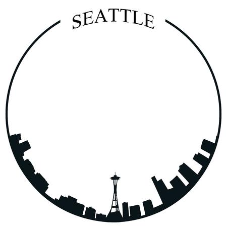 白の背景、ベクトル図に孤立したシアトルのスカイライン