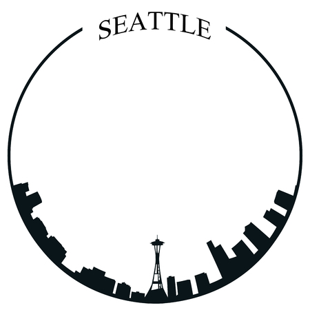Isolated Seattle skyline on a white background, Vector illustration