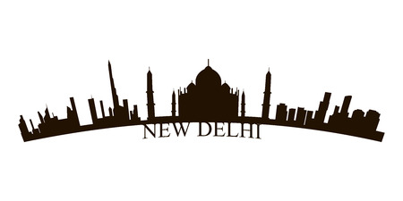 Isolated New Delhi skyline on a white background, Vector illustration Illustration