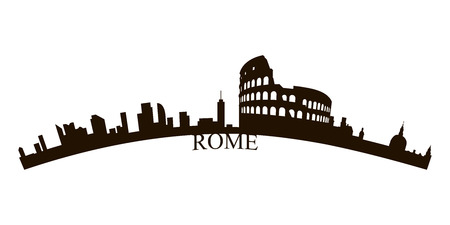 Isolated Rome skyline on a white background,