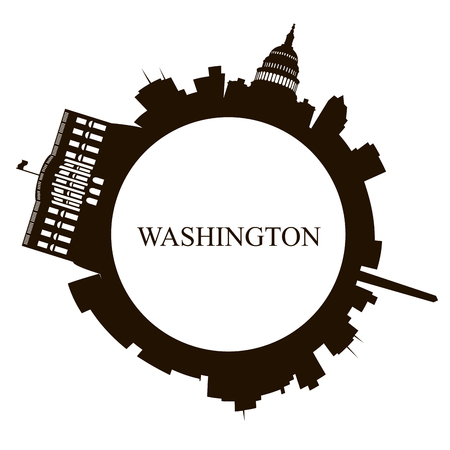 Isolated Washington skyline on a white background, Vector illustration  イラスト・ベクター素材
