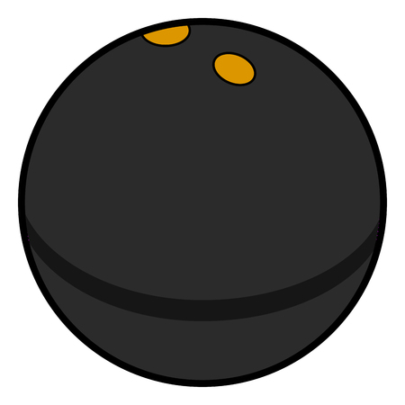 Isolated comic squash ball on a white background, illustration
