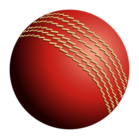 Isolated cricket ball on a white background, illustration