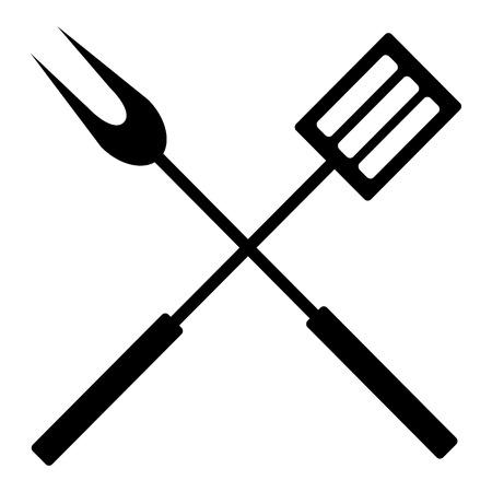 Paire isolée d'ustensiles de barbecue sur fond blanc, illustration