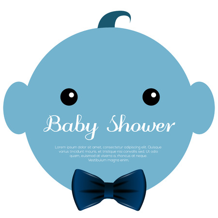 Isolated baby shower label with text, illustration