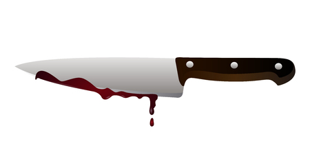 ISolated knife with blood on a white background, vector illustration Illustration