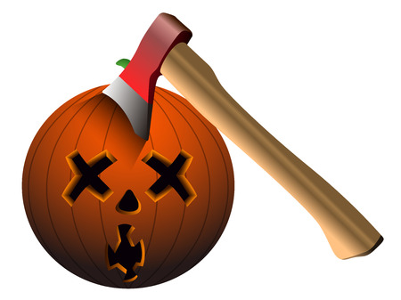 Isolated pumpkin with axe on a white background, vector illustration