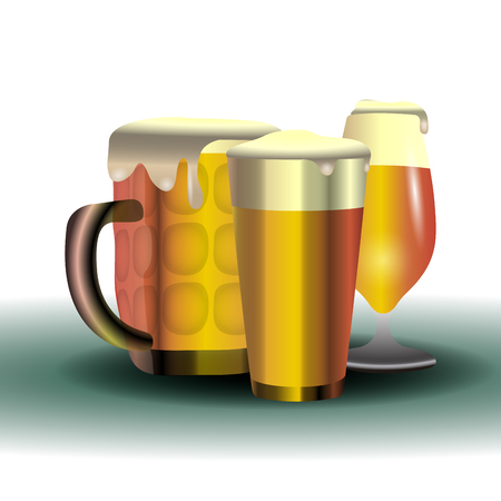 Isolated set of beer glasses on a white background, vector illustration Illustration