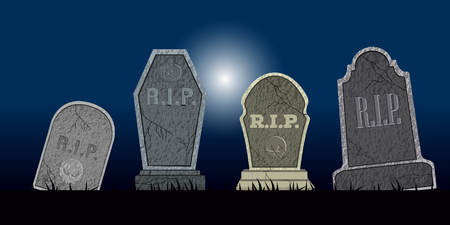 Set of halloween tombs on a colored background, Vector illustration