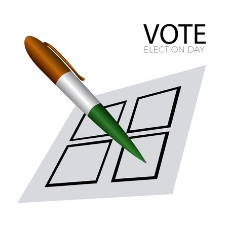 Isolated voting card with a pen on a white background, vector illustration