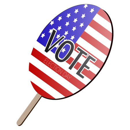 Isolated voting paddle with a flag of United States, vector illustration
