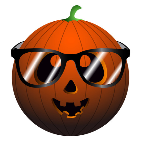 Isolated pumpkin with glasses on a white background, vector illustration
