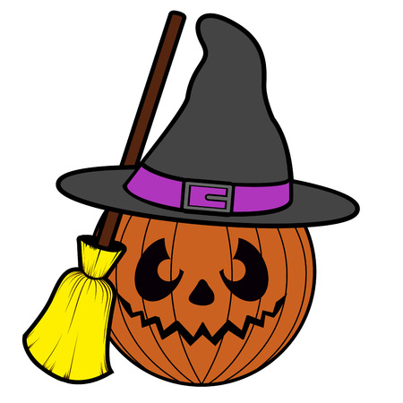 Isolated witch pumpkin icon on a with background, vector illustration