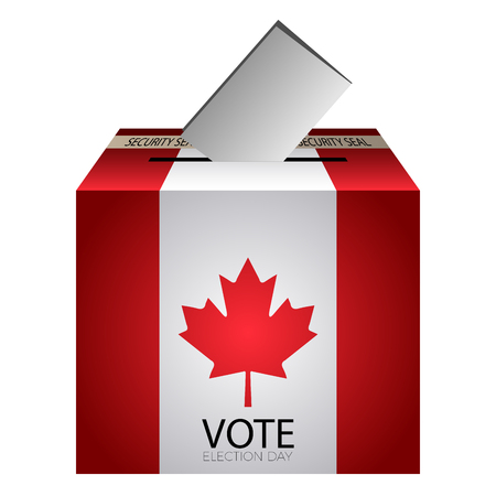 Isolated urne vote with flag of canada on a white background, vector illustration