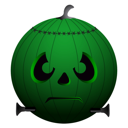 Isolated green pumpkin on a white background, vector illustration
