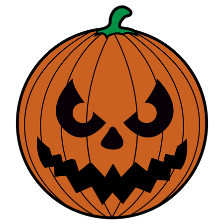 Isolated scary pumpkin icon on a white background, vector illustration