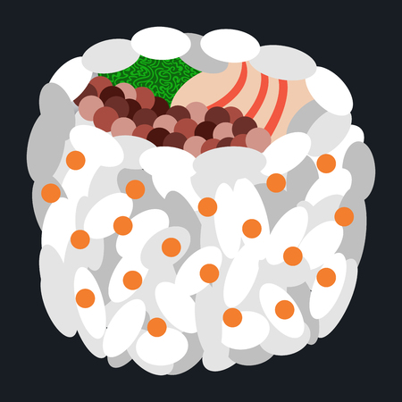 Isolated sushi on a black background, Vector illustration