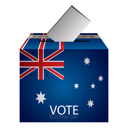 Isolated urne vote with flag of australia on a white background, vector illustration