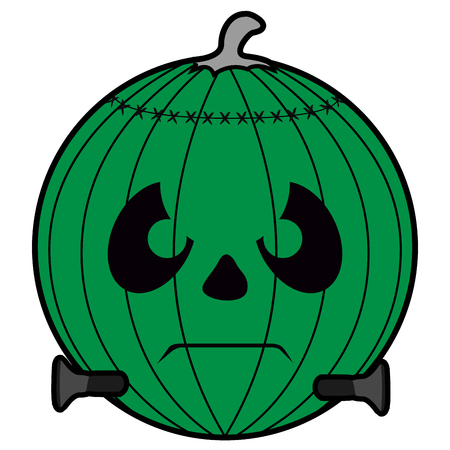 Isolated green pumpkin icon on a white background, vector illustration