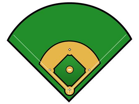 Geïsoleerde honkbal veld op een witte achtergrond, vectorillustratie