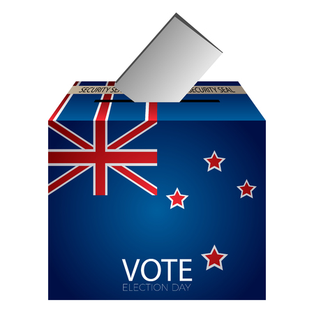 Isolated urne vote with flag of new zealand on a white background, vector illustration