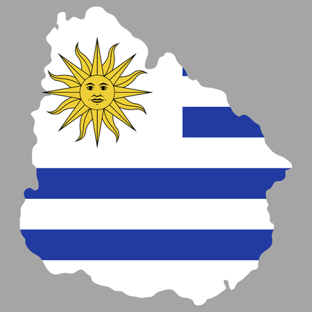 Isolated map of uruguay with flag, vector illustration
