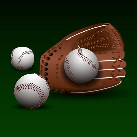 Isolated baseball glove with balls, vector illustration Illustration