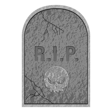 Geïsoleerde grafsteen icoon op een witte achtergrond, vectorillustratie Vector Illustratie