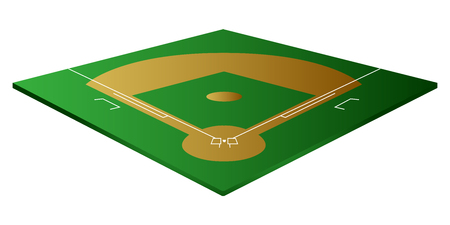 Isolated baseball field on a white background, vector illustration
