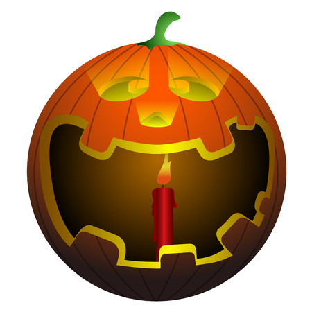 Isolated pumpkin with a candle on a white background, vector illustration