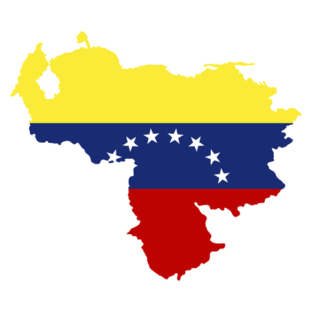 Isolated map of venezuela with flag, vector illustration