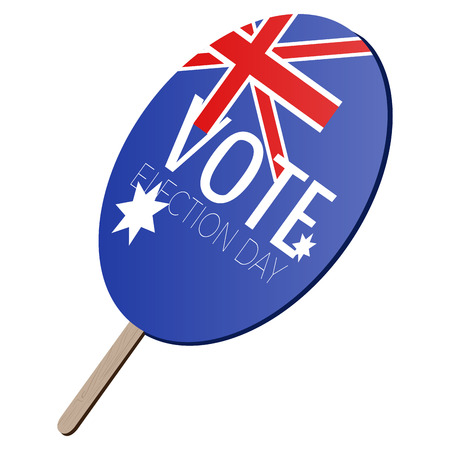 Isolated voting paddle with a flag of Australia, vector illustration