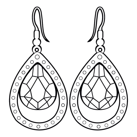 platinum: Isolated outline of a pair of earrings, Vector illustration Illustration