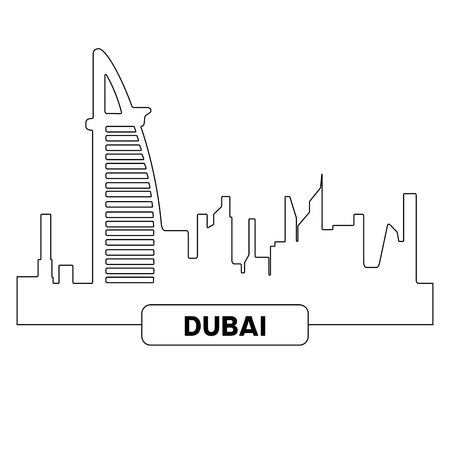 Outline of a cityscape of Dubai, Vector illustration